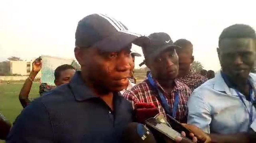 Mathias Déguénon après la victoire sur ASPAC. Trinité Singbo
